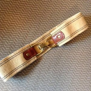 J CREW stretch belt with leather accents S M